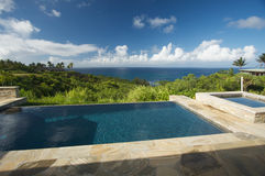 Oceanview Pool. Pool and Hot Tub Overlooking the Ocean Stock Images