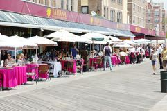 Oceanview restaurant coney island new york. Right on the boardwalk ,nearby ocean ,in the area of famous russianspeaking neighborhood  Brighton Beach on Coney Royalty Free Stock Image