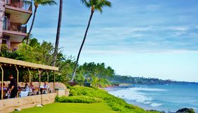 Oceanview restaurant  on  maui hawaii state. Oceanview restaurants as landmarks of Maui ,some of them several feets from ocean ,its professional staff and Royalty Free Stock Image