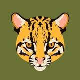 Ocelot cat face  vector illustration style  flat Royalty Free Stock Photos
