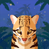 Ocelot on the Jungle Background. Flat Vector image of the Ocelot on the Jungle Background Stock Photos