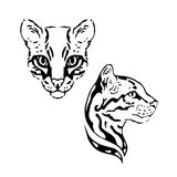 Ocelot set vector. Ocelot vector set of graphic muzzles vector stock illustration