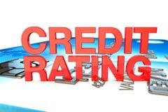 Ocena zdolności kredytowych w czerwieni na kredytowej karty tle royalty ilustracja