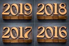 2016, 2017, 2018 och 2019 år uppsättning royaltyfria foton