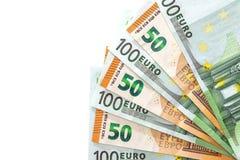 50 och 100 euro isoleras Royaltyfria Bilder