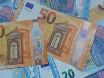 50 och 20 euroanmärkningar, europeisk union Arkivbild