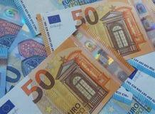50 och 20 euroanmärkningar, europeisk union Royaltyfri Fotografi