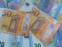50 och 20 euroanmärkningar, europeisk union Royaltyfria Foton