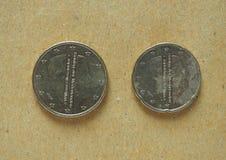 20 och 50 eurocent mynt Arkivfoto