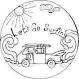 Och gå att surfa stock illustrationer