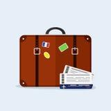 och lopp Resväska med klistermärkear, flygplanbiljetter Semesterturism vektor illustrationer