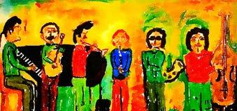 Och musikbandet spelar på royaltyfri illustrationer
