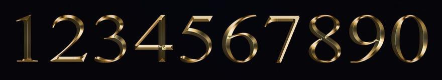 Och nummer 0, 1, 2, 3, 4, 5, 6, 7, 8, 9 för tecken för beröm för nytt år för årsdag brons stilguld som mousserar textur vektor illustrationer