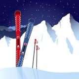 Och skidar skidar poler i snön Vektor Illustrationer