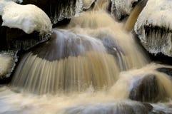 Is och snö över flyttningvatten Fotografering för Bildbyråer