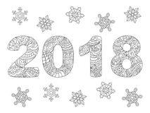 2018 och snöflingor på vit Fotografering för Bildbyråer