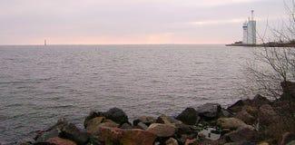 Ochacov Zimy Czarny morze Budynek loci usługa Zatoka Dnipro pluskwy ujście obrazy stock