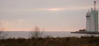 Ochacov Zimy Czarny morze Budynek loci usługa Zatoka Dnipro pluskwy ujście fotografia royalty free
