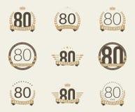 Ochenta años del aniversario de logotipo de la celebración 80.a colección del logotipo del aniversario Imagen de archivo