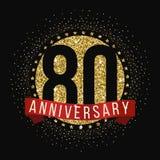 Ochenta años del aniversario de logotipo de la celebración 80.o logotipo del aniversario Fotografía de archivo libre de regalías