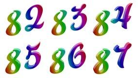 Ochenta y dos, ochenta y tres, ochenta y cuatro, ochenta y cinco, ochenta y seis, ochenta y siete, 82, 83, 84, 85, 86, 87 3D cali libre illustration
