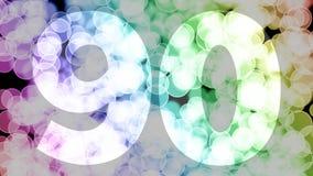 Ochenta y nueve a noventa años de cumpleaños se descoloran la animación de in/out con el fondo de mudanza del bokeh de la pendien ilustración del vector