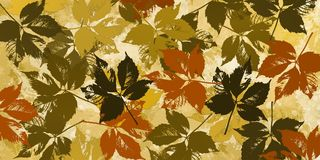Ocher background with autumn leaves. Mage with autumn leaves grouped on ocher tones Stock Photos