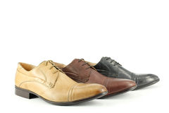Ocher brown and black man shoes Royalty Free Stock Image