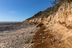 Ocher cliffs on the french west coast stock photo