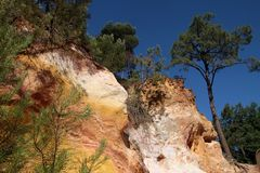 Ocher cliffs of Roussillon Stock Image