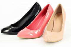 Ocher pink and black women shoe Royalty Free Stock Images