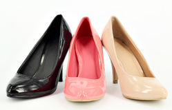 Ocher pink and black women shoes Royalty Free Stock Photography