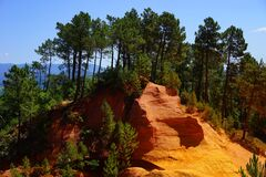 Ocher Rocks, Roussillon Stock Photo