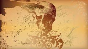 Ocher skull. Background Illustration ocher Skull and Bones Royalty Free Stock Photos