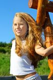 Ocho años de la muchacha Imagen de archivo libre de regalías