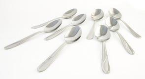 Ocho cucharas, llenas, primer Imagen de archivo