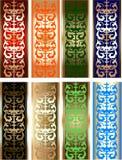 Ocho elementos del diseño de la frontera del color del oro Foto de archivo libre de regalías