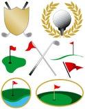 Ocho iconos del golf del color Fotos de archivo libres de regalías