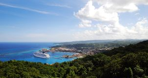 Ocho Rios Panorama. The view a cruise liner anchored in Ocho Rios town, Jamaica Stock Images