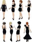 Ocho señoras hermosas en vestidos de cóctel negros Fotografía de archivo libre de regalías