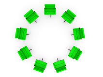 Ocho sillas de la oficina en círculo Imagen de archivo libre de regalías