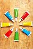 Ocho tubos con el colorante de alimento Foto de archivo libre de regalías