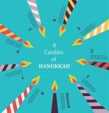 Ocho velas por ocho días de infographics judío de Hanikkah del día de fiesta ilustración del vector