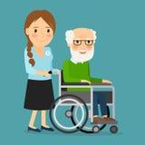 Ochotniczy dosunięcie wózek inwalidzki z niepełnosprawnym starym człowiekiem ilustracja wektor