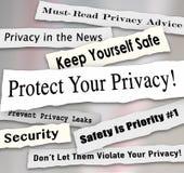 Ochrania Twój prywatność nagłówki prasowych Znacząco Iinformation Obrazy Stock