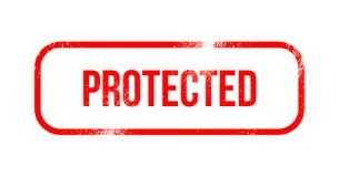 Ochraniający - czerwona grunge guma, znaczek ilustracja wektor