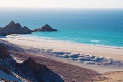 Ochraniający teren Qalansia plaża, piasek diuny, Socotra, Jemen obrazy stock