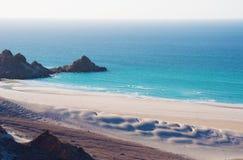 Ochraniający teren Qalansia plaża, piasek diuny, Socotra, Jemen zdjęcie royalty free