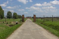 Ochraniający terytorium koncentracyjny obóz auschwitz zdjęcie royalty free