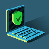 Ochraniający twój komputer, antivirus, hacker łama ilustracja wektor